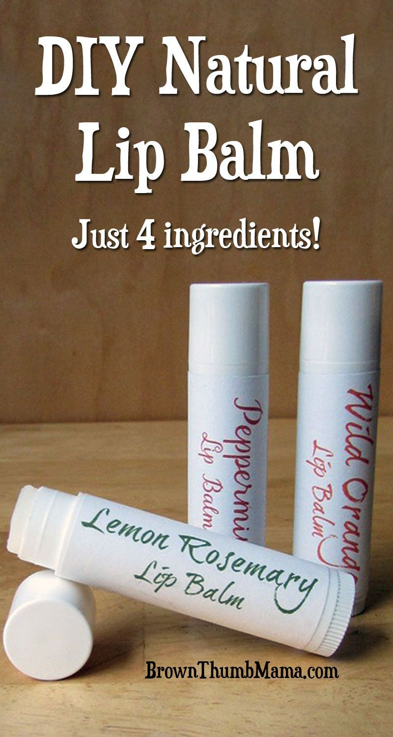 Natural Lip Balm This rich, nourishing lip balm uses four natural ingredients and takes just minutes to make. Add essential oils and create your own flavors!This rich, nourishing lip balm uses four natural ingredients and takes just minutes to make. Add essential oils and create your own flavors!