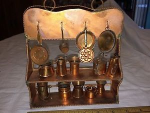 Copper-Hand-Made-Mini-bakers-rack-with-mini-pans-and-pots