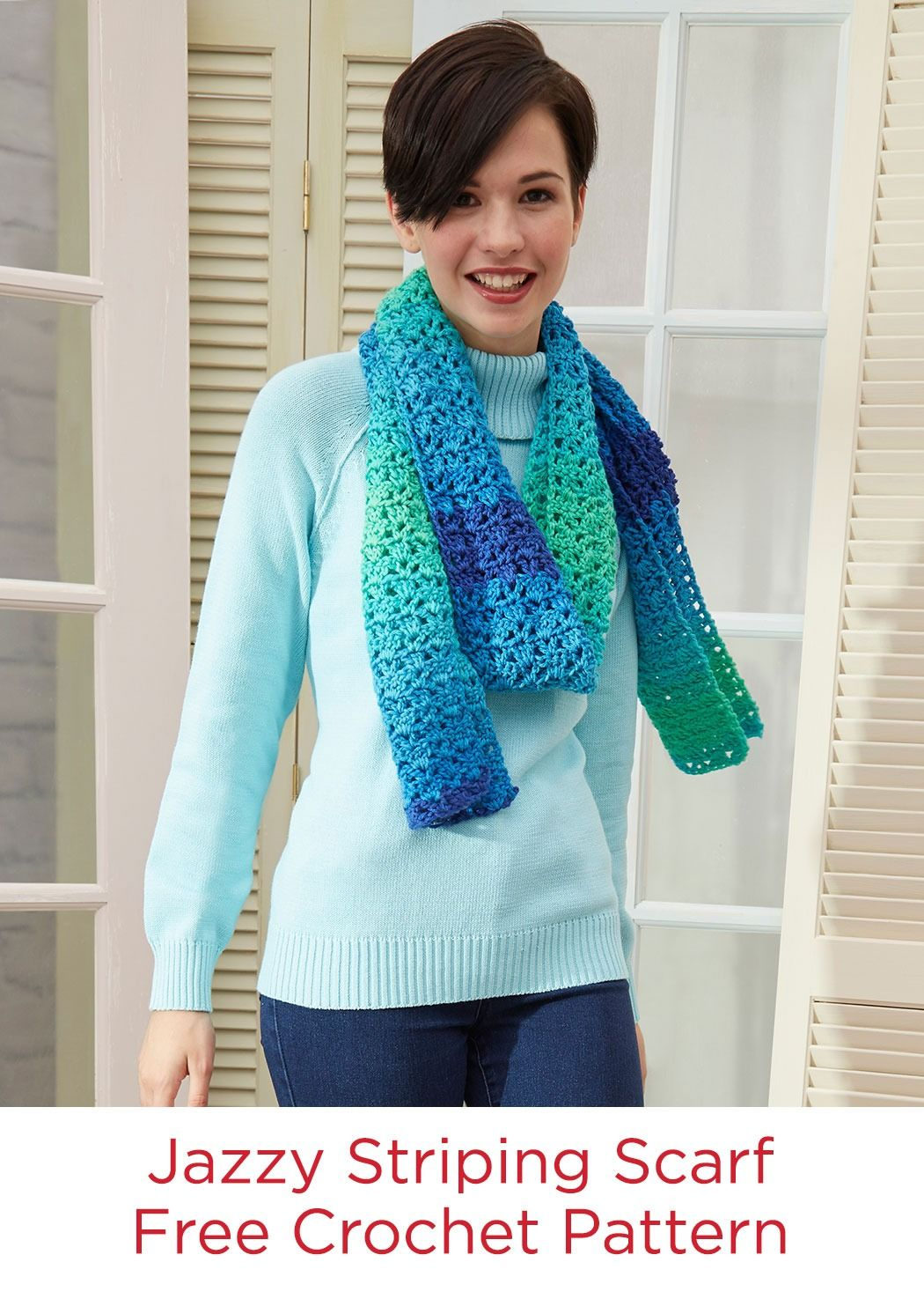 Jazzy Striping Scarf Free Crochet Pattern in Red Heart Super Saver ...