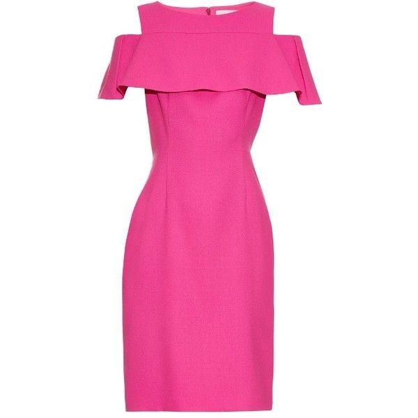 Osman Perfect 5 Sorida wool-crepe dress ($390) ❤ liked on Polyvore featuring dresses, ruffle dress, crepe dress, shiny dress, frill dress and pink dress