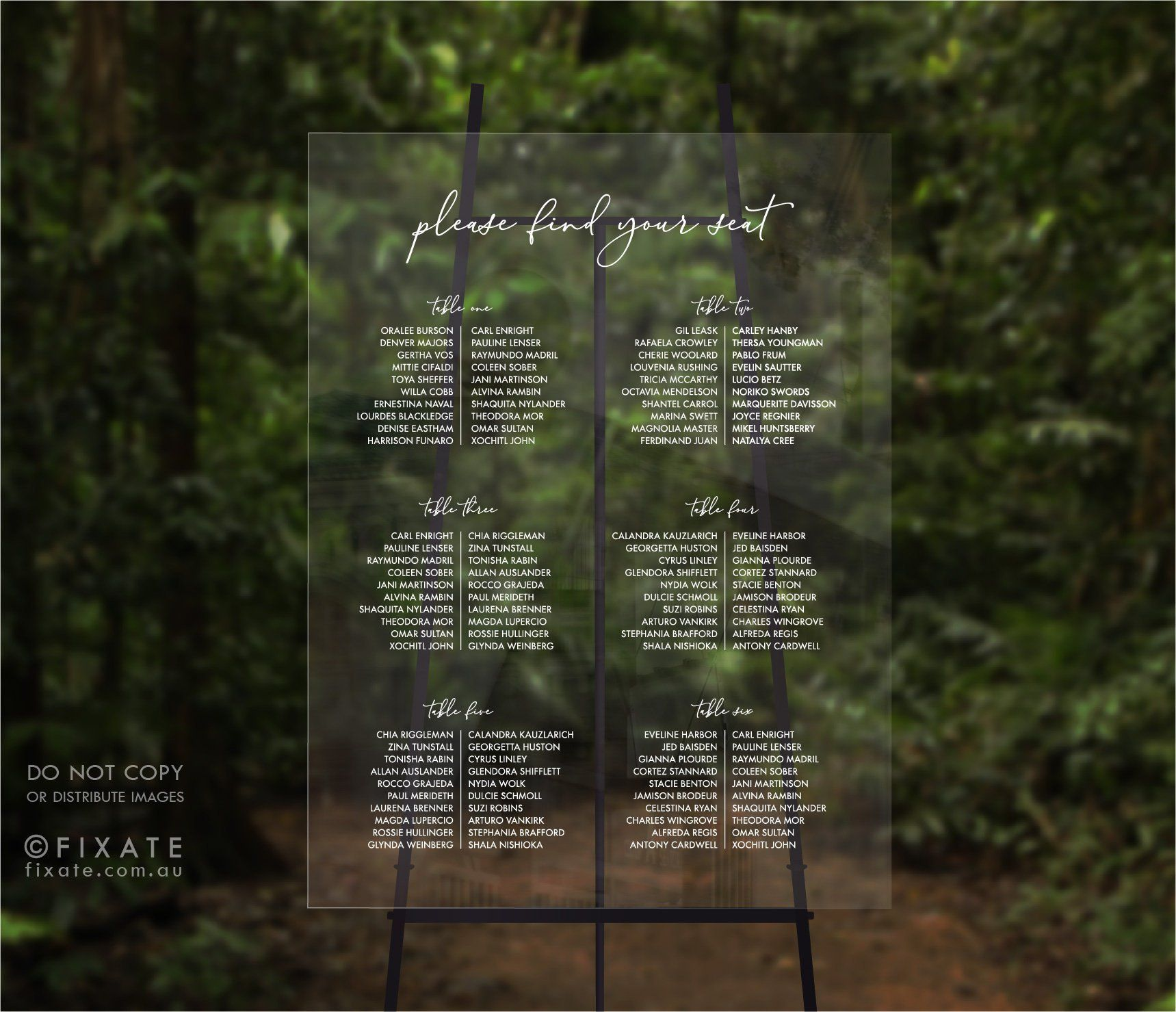 Acrylic Seating Chart Wedding Seating Plan Sign Perspex