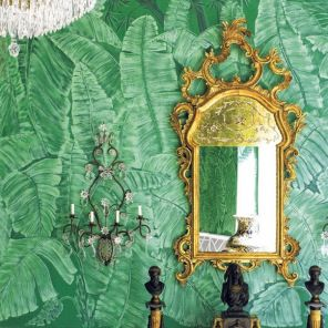 10 Bold & Beautiful Interiors with Palm Leaf Wallpaper
