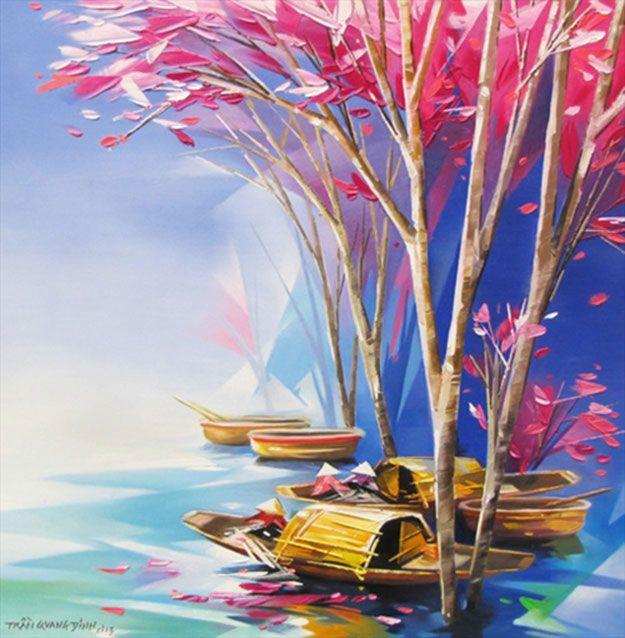 Vietnamese Abstract Art Boats
