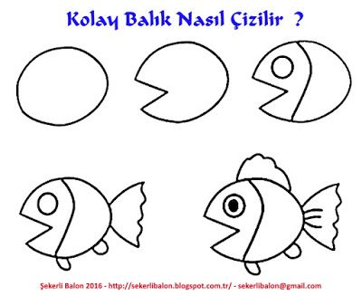 Sekerli Balon Kolay Balik Nasil Cizilir Cizimler Cizim Drawing Lessons