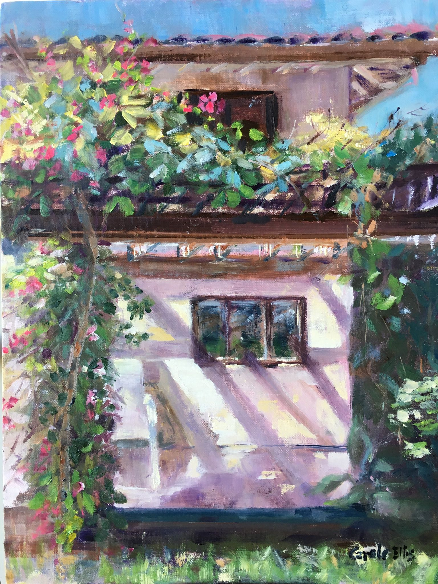backyard in berkeley oil painting oil paintings by carole ellis