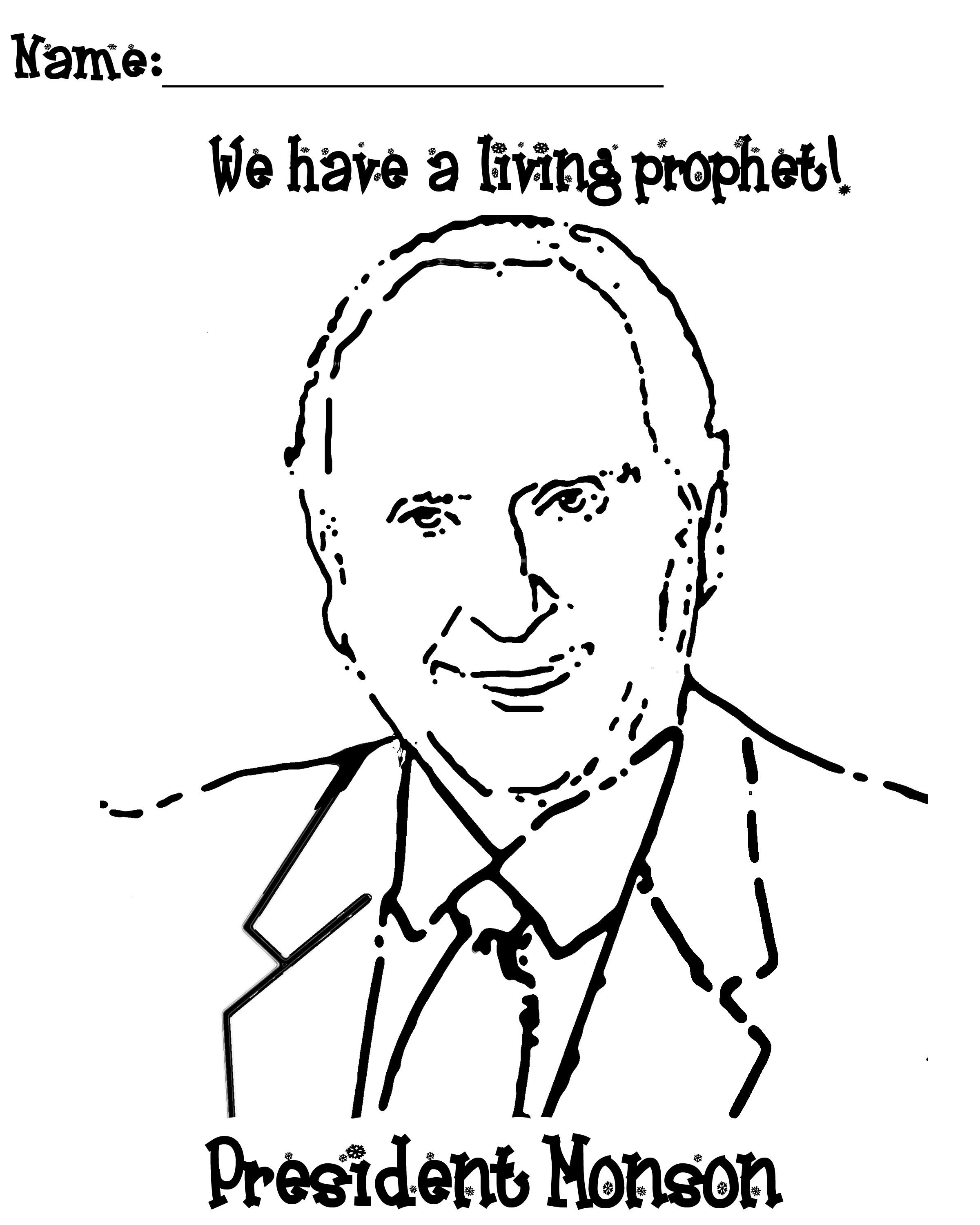 Mormon Share } President Monson Coloring Page | Lds clipart