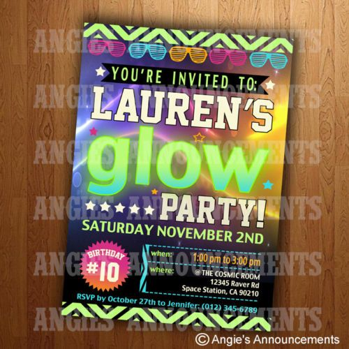 15 Personalized Glow Birthday Party Invitations
