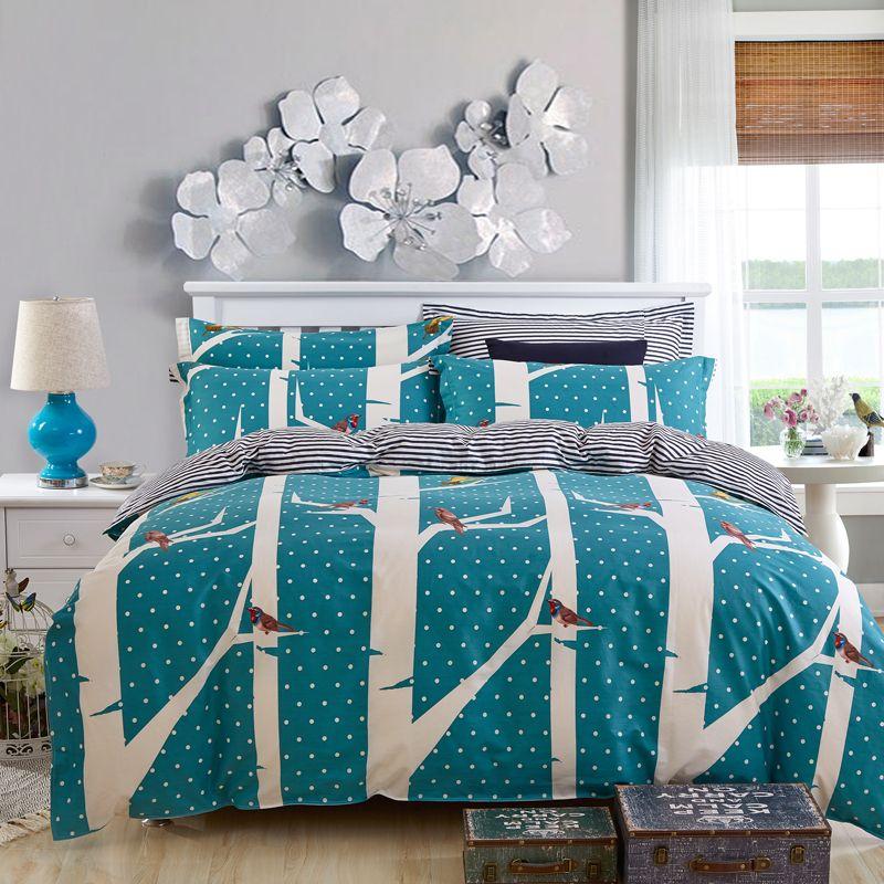 2015 polka dot comforter bedding sets bird bed cover blue
