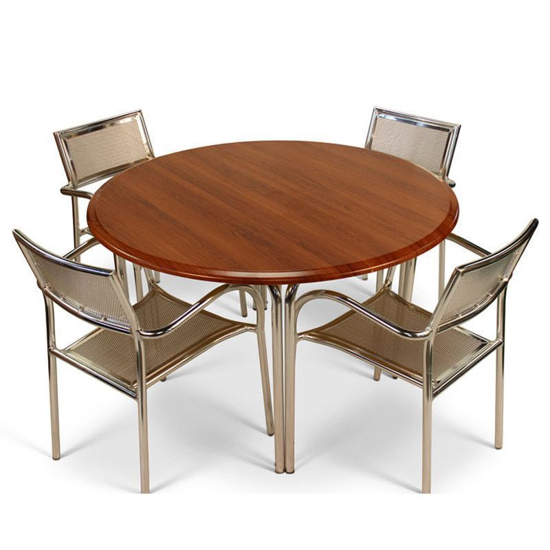 4 Seater Outdoor Dining Set Round Table Aluminum Cherry Wooden