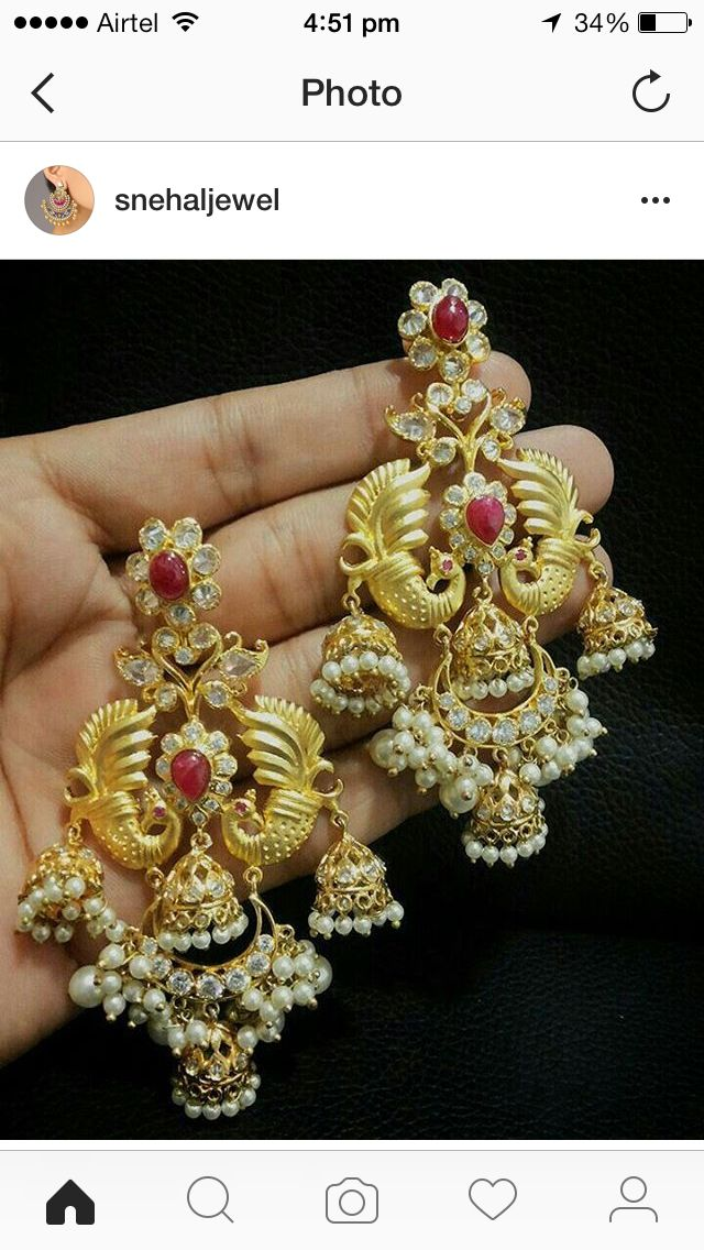 Objective Indian Ethnic Gold Tone Pearl Beads Chand Bali Earring Wedding Jewelry Beautiful And Charming Hair & Head Jewellery