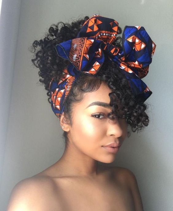 Curly Pineapple With Head Wrap Natural Hair Styles Curly Hair Styles Short Curly Hair