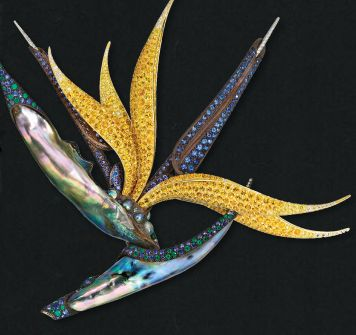 Jewel Of The Day Nicholas Varney Bird Of Paradise Brooch Birds Of Paradise Bird Jewelry Brooch