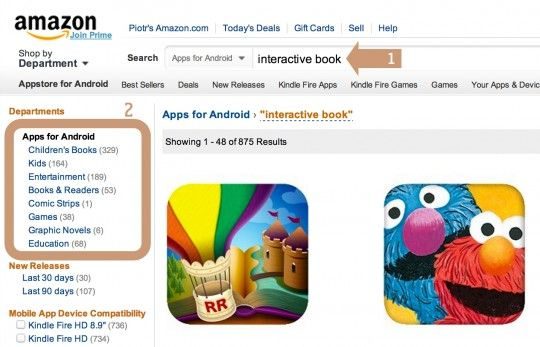 Finding enhanced ebooks for Kindle Fire - method two: Amazon Appstore for Android