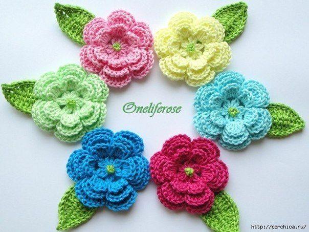 Delicadezas en crochet Gabriela: Flores decorativas en ganchillo ...