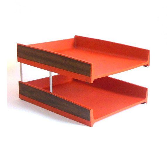 Mid Century Modern Office Desk Organizer In Out Tray Orange Etsy Mid Century Modern Office Desk Mid Century Modern Office Mid Century Modern Desk