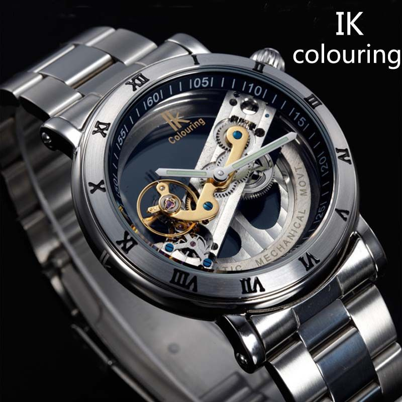 new design watches steel brand ik colouring hollow automatic new design watches steel brand ik colouring hollow automatic mechanical watch men skeleton swimming watches 50m