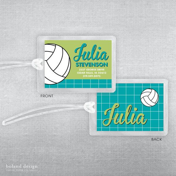 These Durable Luggage Tags Can Add Fun To Any Bag Great For Kid S Book Bags Lunch Bags Luggage Di Volleyball Bag Tags Volleyball Bag Volleyball Team Gifts