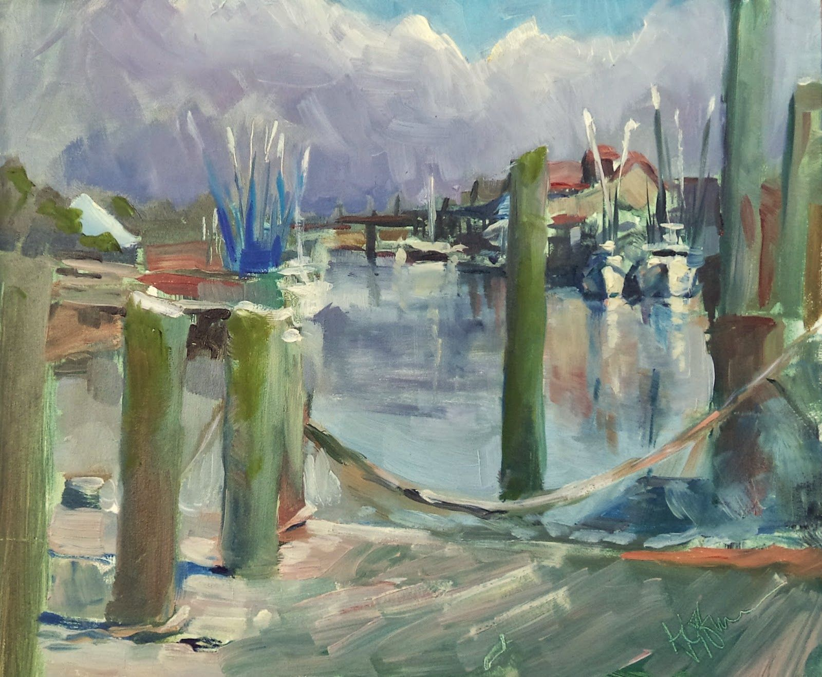 """Mary's Paintings: """"Break in the Fog at Shem Creek"""""""