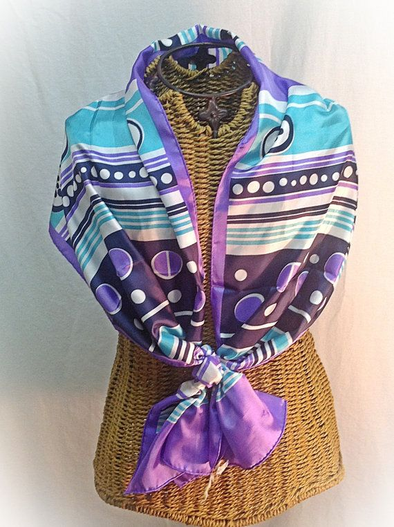 Vintage Scarf by Sally Gee Purple Turquoise by MyVintageStyles, $15.00