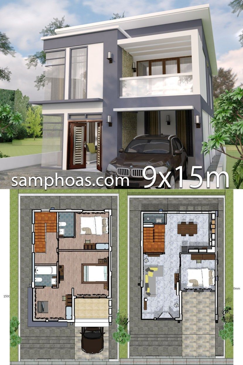 Plan 3d interior design home plan 7x10m full plan 3beds samphoas plan