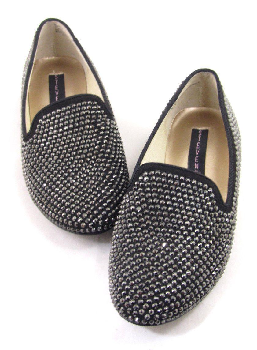354cb96b1ac New Display Steven Steve Madden Studded Flats Loafers Madee R Black Sz 7  Sparkly