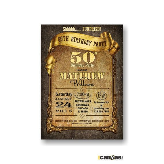 30th 40th 50th 60th 70th 80th birthday Invitation Any age Black