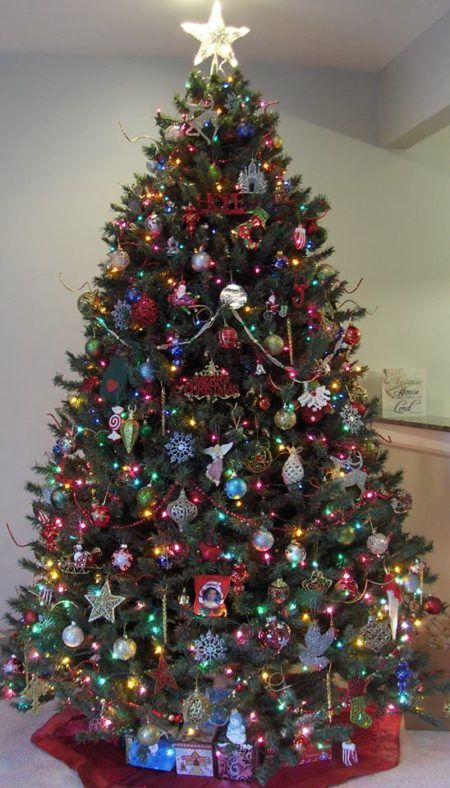 christmas tree with dollar tree and family dollar ornaments