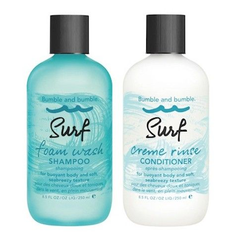 Bumble & Bumble Surf Foam Wash Shampoo & Surf Creme Rinse Conditioner for bouyant body and soft, seabreezy texture. (that starts in the shampoo bowl) #beachhair #bumblesurf