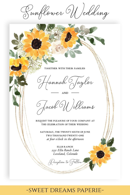 Navy Blue Wedding Invitation Template Sunflower Wedding Etsy In 2021 Wedding Invitation Templates Navy Blue Wedding Invitations Blue Wedding Invitations