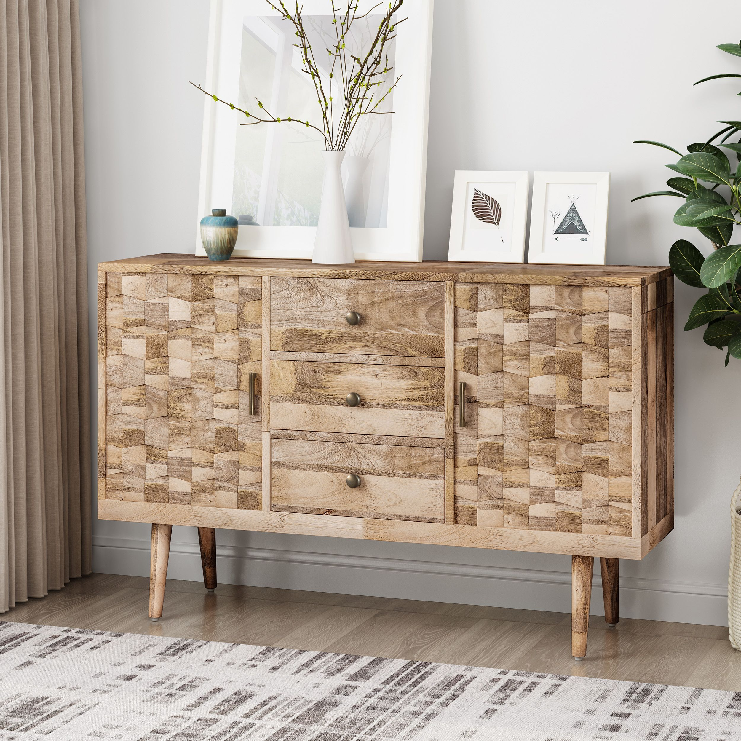 Noble House Adhvika Mid Century Modern Mango Wood 3 Drawer Sideboard With 2 Doors Natural Walmart Com Mango Wood Mid Century Modern Sideboard Noble House