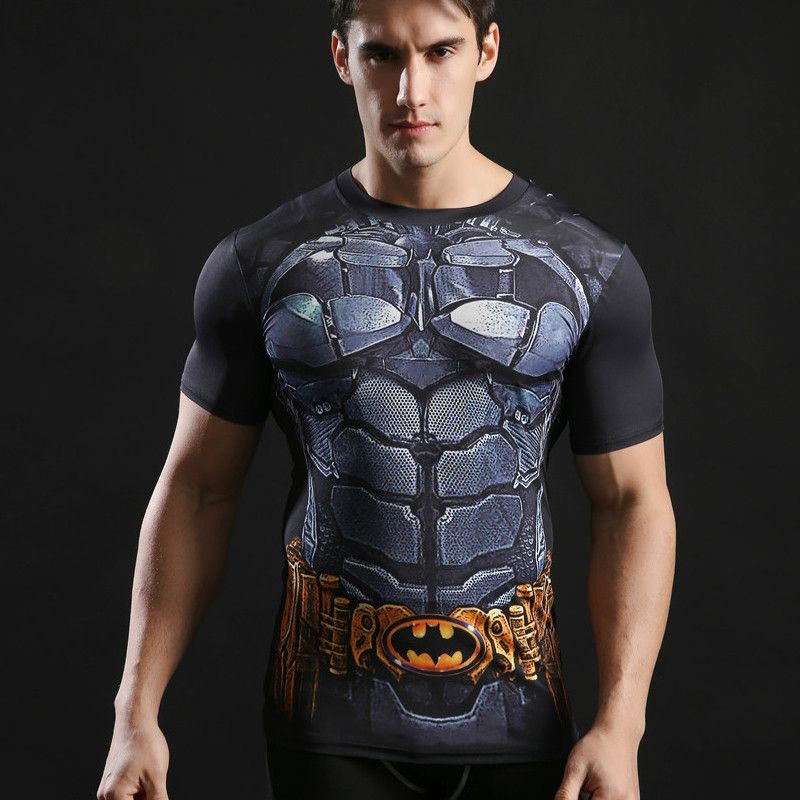097c21bf94f6cf Superhero Tops Men Compression Bodybuilding T shirts Muscle Fitness  Streetwear Black Fashion Casual T-shirts 2017 ZOOTOP BEAR