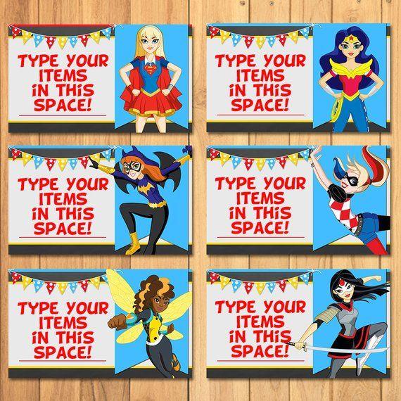 DC Super Hero Food Tents Chalkboard