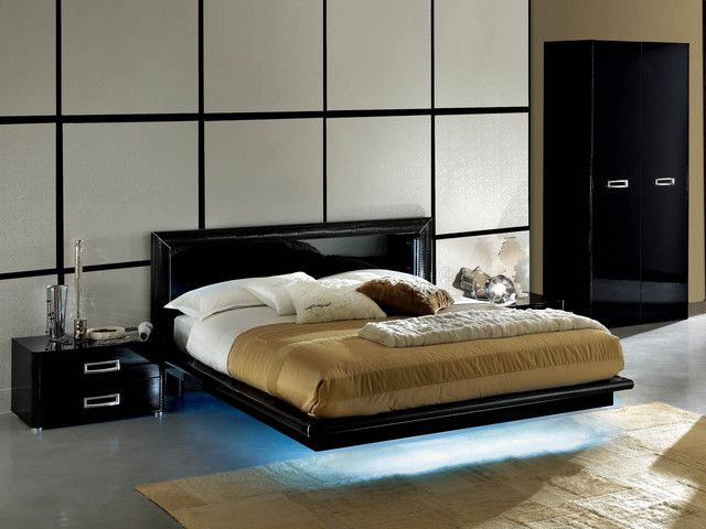 Delightful Modern Black Lacquer Bedroom Furniture Italian Style