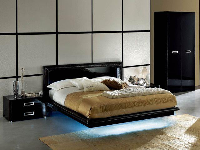 Modern Black Lacquer Bedroom Furniture Italian Style Platform Bed Sets Bedroom Sets Queen Furniture