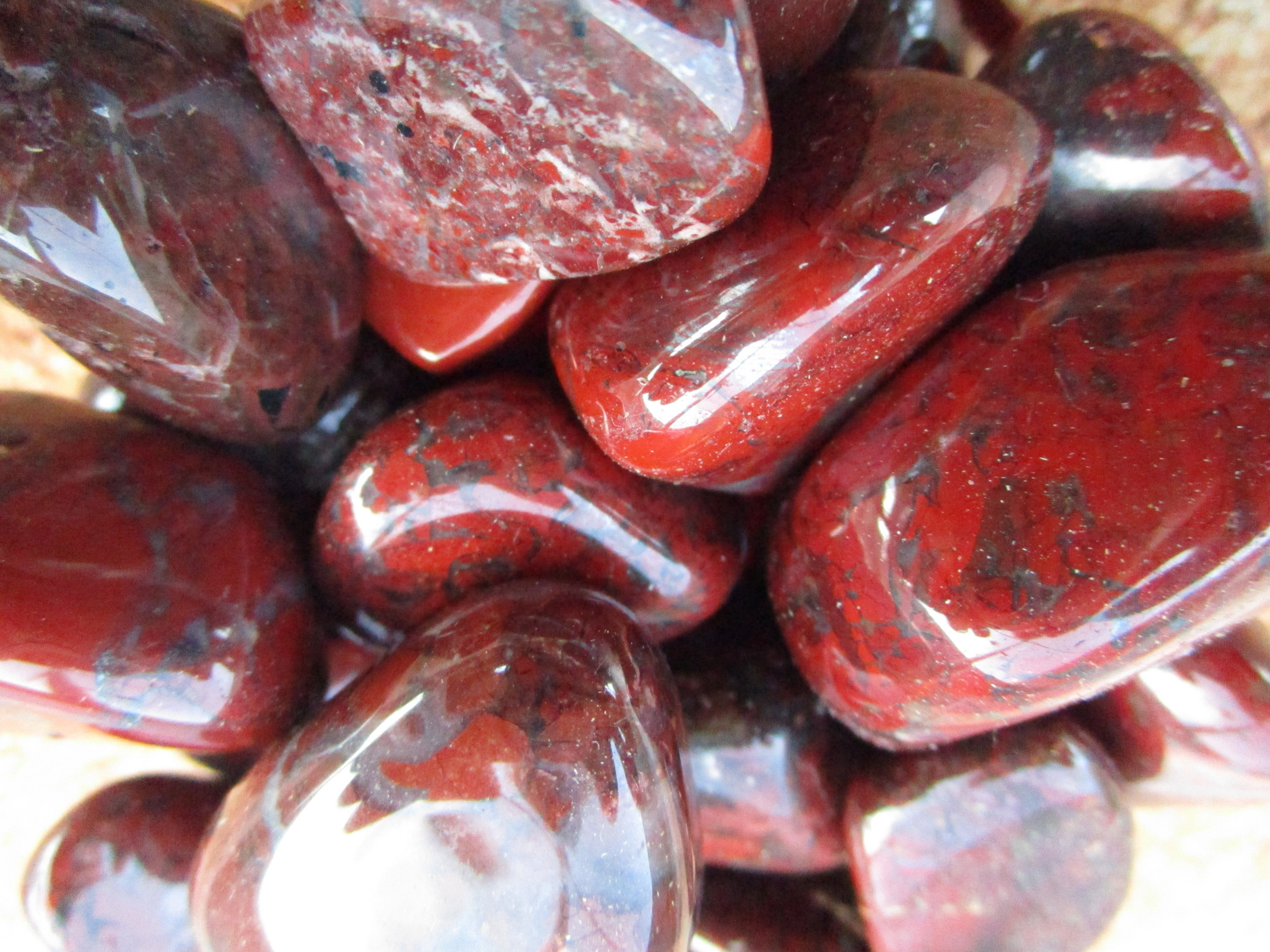 Red Brecciated Jasper: This stone is Jasper veined with Hematite. It is an excellent aid to keeping your feet on the ground, attaining emotional stability and mental clarity.