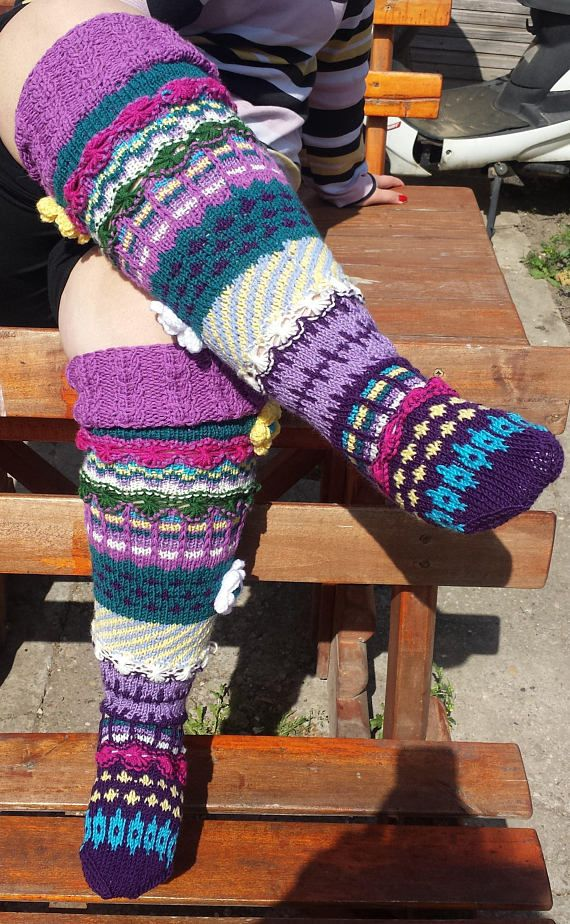 0320829efac Hand knit knee socks