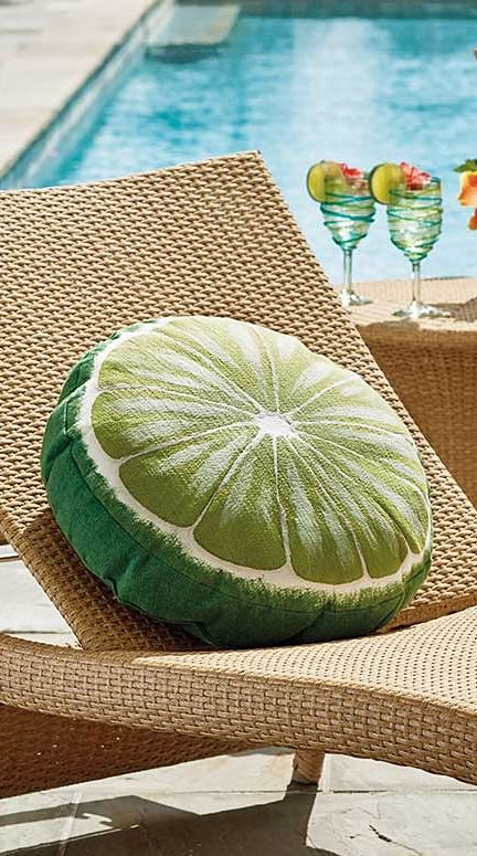 Shaped Like A Slice Of The Citrus Fruit, Our Margaritaville Tropical Lime Outdoor  Pillow Is