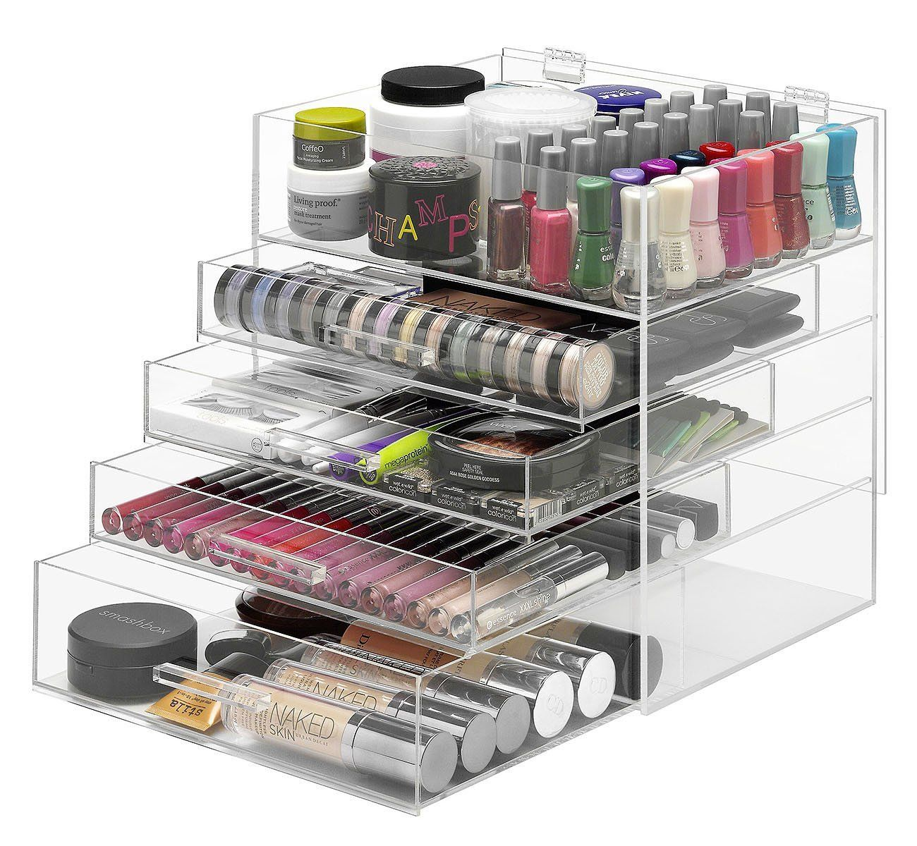 Clear acrylic makeup organizer with 5 compartments, 4 drawers, and ...