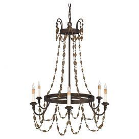 "This candelabra-inspired chandelier showcases draped prism cut accents and a Mayan gold finish.  Product: ChandelierConstruction Material: SteelColor: Mayan goldAccommodates: (6) 60 Watt B10 candelabra base bulbs - not includedDimensions: 30"" H x 28"" Diameter"