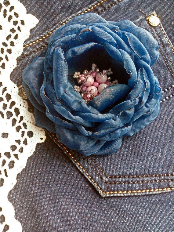 Vintage flower brooch, flower hair clip, navy blue chiffon flowers vintage, blue peonies, boho chiffon flower, Shabby Chic flower #bluepeonies