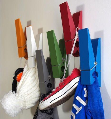 Funny Coat Hooks oversized clothes pin hangersswabdesign // creative / funny