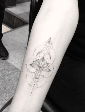 Geometric Lotus Flower Design Forearm Tattoos Tattoos Forearm Tattoo Women