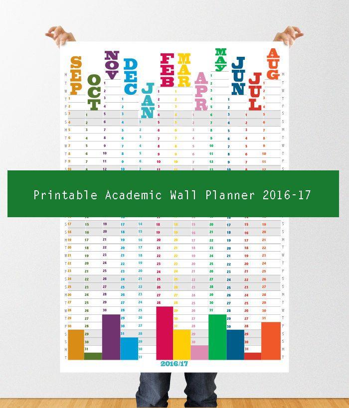 printable academic year wall planner 2016 17 digital download wall