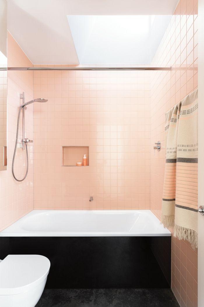 Badezimmer Einrichtung, Fliesen in Apricot, zarte Nuance - fliesen für badezimmer