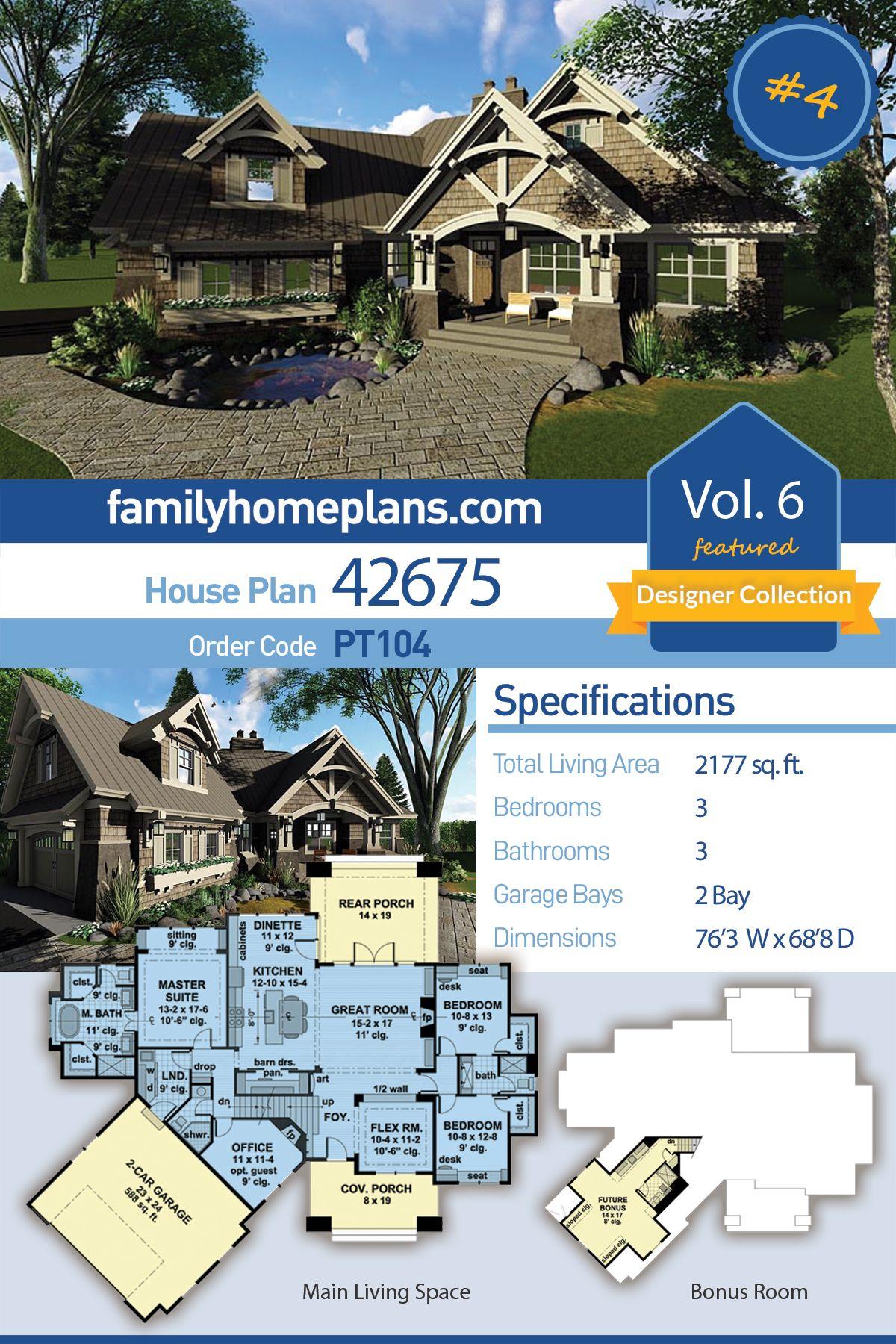 Tudor Style House Plan 42675 With 3 Bed 3 Bath 2 Car Garage House Plans Tudor Style Homes Craftsman House