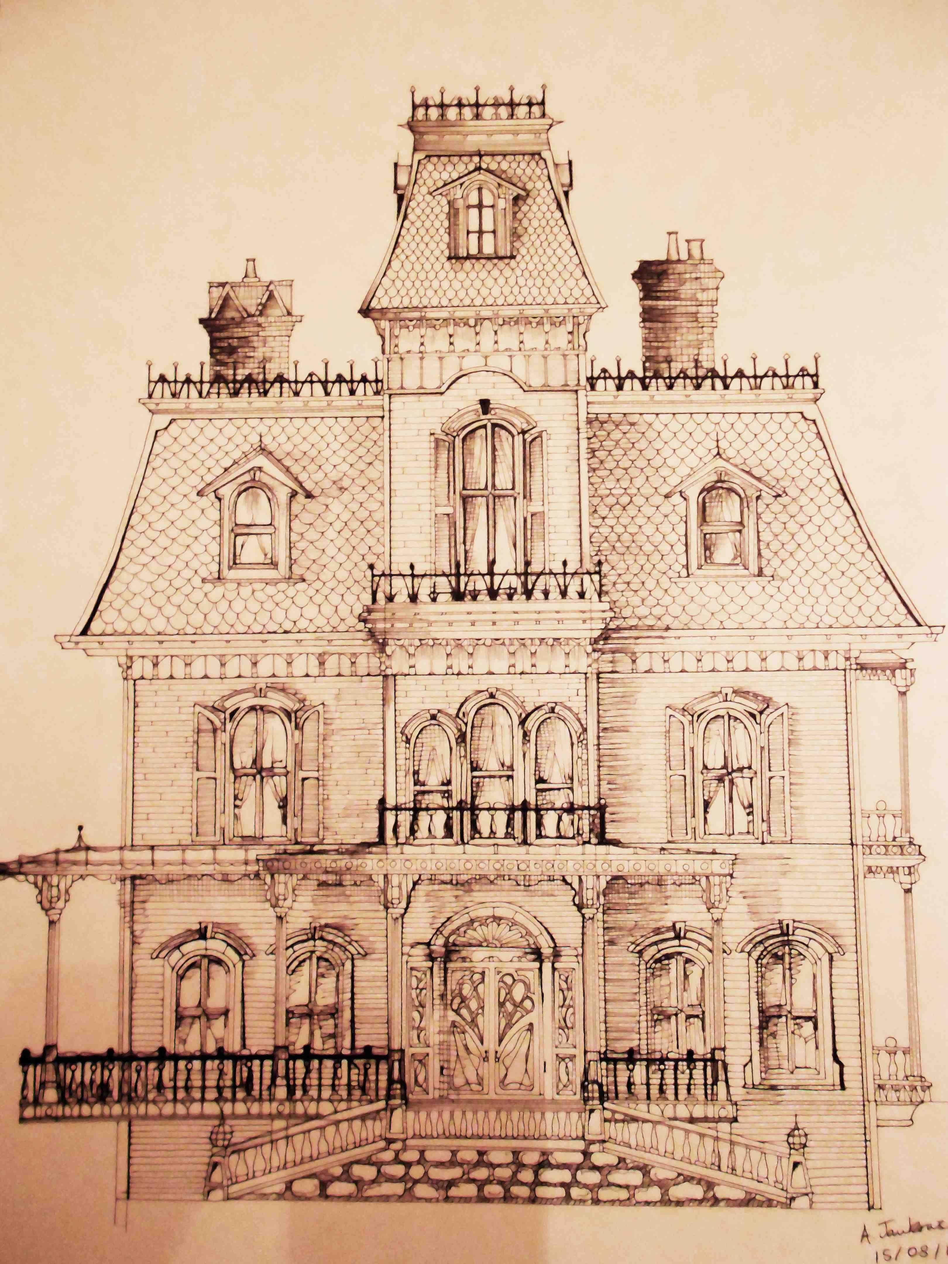 Manor House Drawing: Phantom Manor Disneyland Paris Sketch