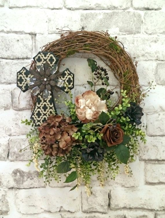 Cross Wreath Neutral Front Door Outdoor Silk Fl Grapevine Beautiful Quatrefoil Black Brown White