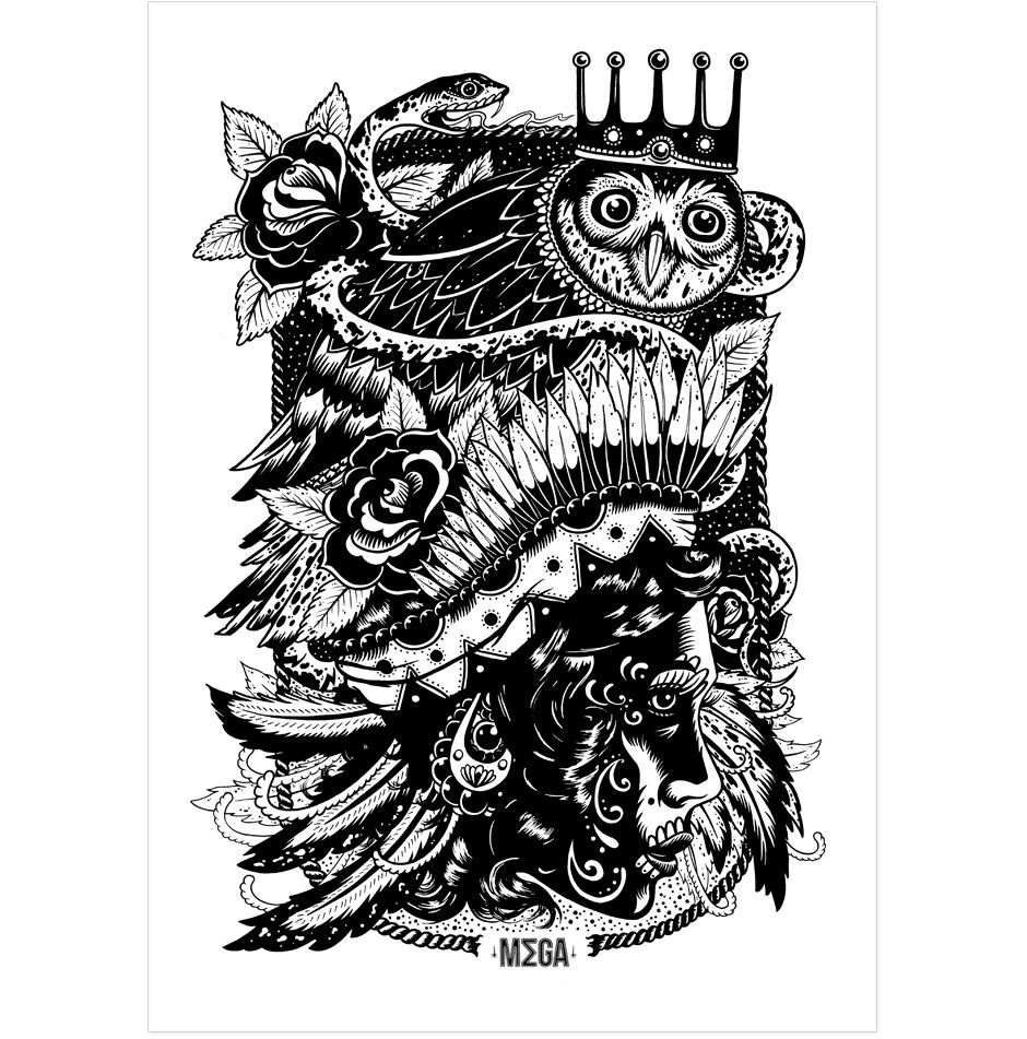 80 crazy and amazing tattoo designs for men and women desiznworld - Gypsy Girl Owl And Snake Illustration By Megamunden
