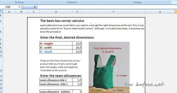 The basic box corner spreadsheet calculus by 100bofora on Etsy