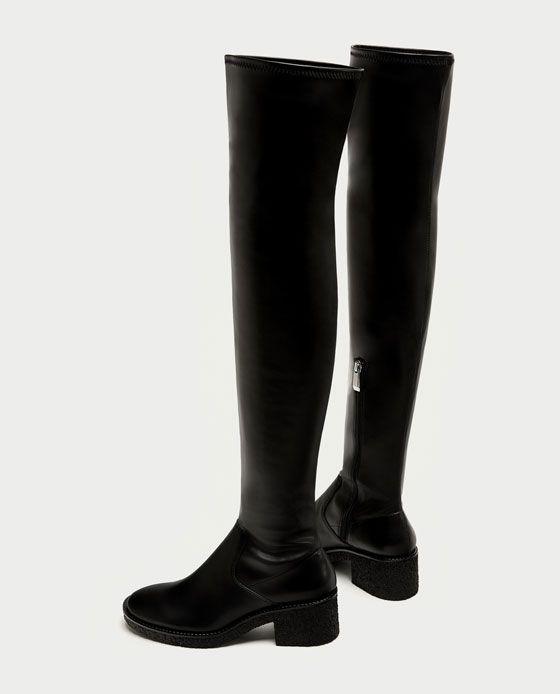 fdfe137e650 Bild 4 av PLANA SKINNSTÖVLAR MED CREPE från Zara | Trends | Boots ...